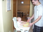 Kyton's first birthday cake -- and he got the whole thing!