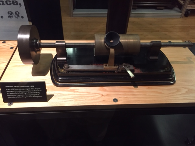improved phonograph taken to Washington DC.  Demonstrated for Pres. Hayes in the White House.