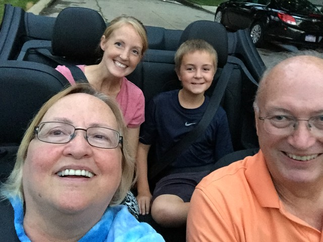 Selfie in the convertible.   2015-08-10