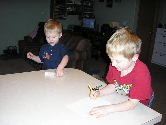 The boys making Valentines Cards for Jared