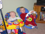 Rhya doesn't like the bouncy chair so we gave it to the boys to play with.  I think it is a big hit.