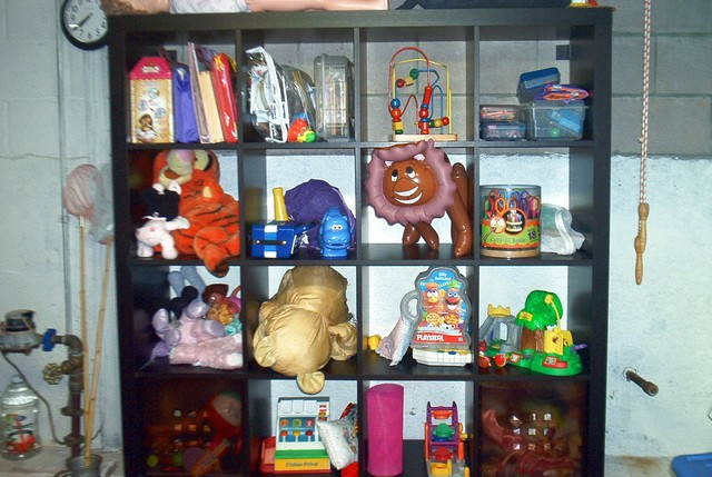 Shelving Unit for toys in the basement